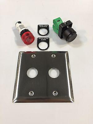 Alarm Light Buzzer Wpush Button Stainless Plate Labels Ecx2071-24r Gcx3110