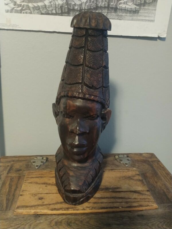 African Tribal Art Sculpture Statue Bust Carved Wood Male Head Black Ebony 1950s
