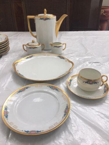 Antique Hand Painted Porcelain Coffee/ Chocolate Pot Set 32 Pcs