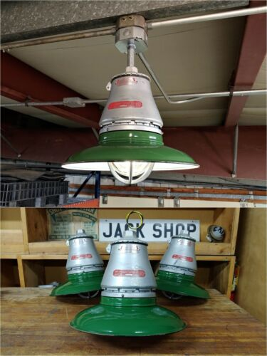 VTG Appleton Industrial Explosion Proof Light Fixture w/ Green Porcelain Shade