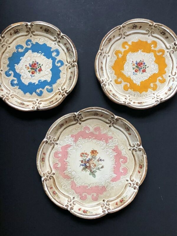 RARE ~3 Vintage ITALY ITALIAN Florentine Antique FLORAL Flower TRAYS Roses WOW!