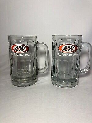 "Set Of 2 Vintage A & W Root Beer 7"" Glass Mug All American Food Orange & Brown"