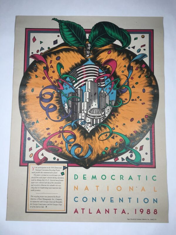 Democratic National Convention Cardboard Poster 1988 Atlanta Georgia Political