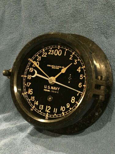 ** Fully Restored** WWII US NAVY 24hr. Chelsea Ship Clock Serial No. 394436