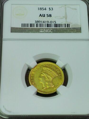 1854 G$3 INDIAN PRINCESS HEAD THREE-DOLLAR GOLD PIECE NGC AU 58