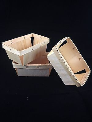 12- 1 Pint Rectangle Wood Berry Baskets