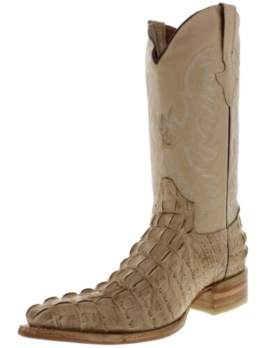 Mens, New, TW, Crocodile, Alligator, Tail, Leather, Cowboy, Western, Boots, XXX, Sand,