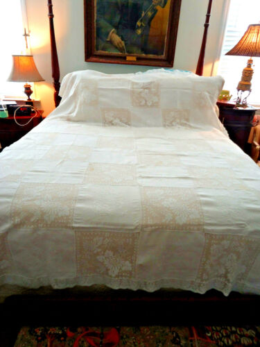 """ANT WHITE LUXURIOUS LARGE EMBROIDERED & LACE TABLECLOTH 100 x 65""""  ELEGANT, EXCE"""