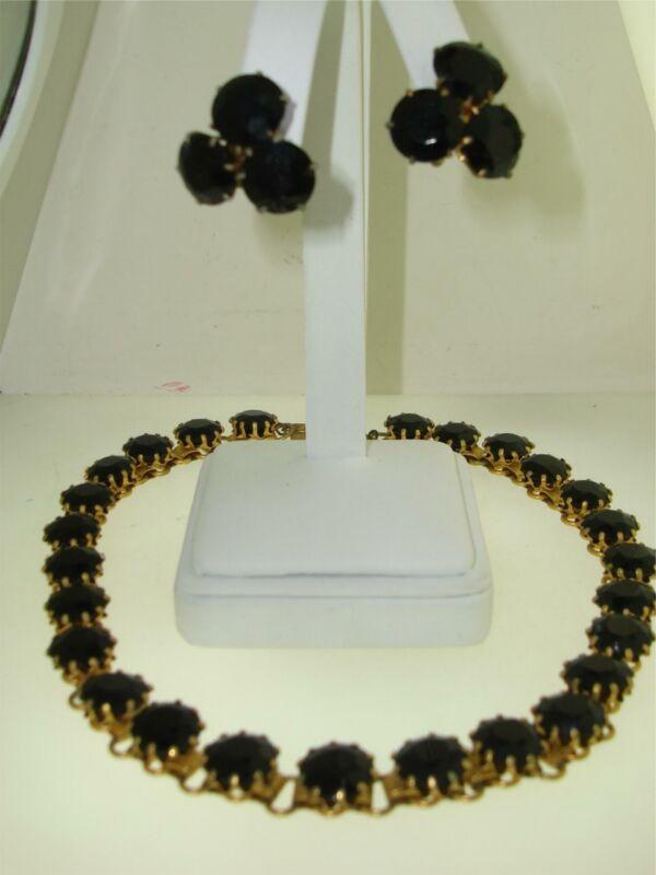 ANTIQUE ART DECO GOLD WASHED PRONG SET BLACK GLASS CHOKER NECKLACE EARRINGS SET