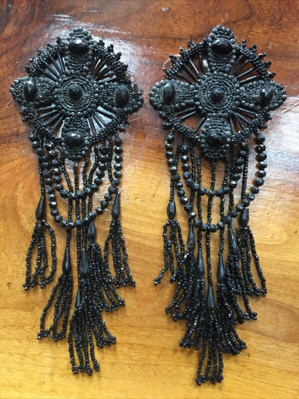 Antique Victorian Black Net Beaded Shoulder Appliqués