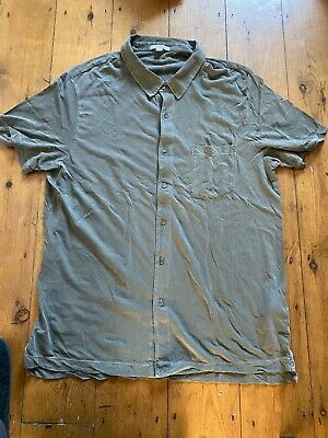james perse short sleeve shirt olive green size 3