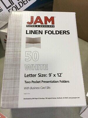 Jam Paper Linen Two Pocket Presentation Folder White 50pack
