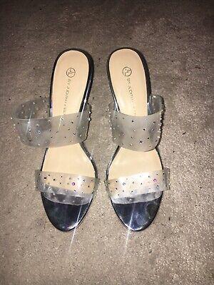Fabulous By Judith Leiber Silver Sandals Heels UK 4 EU 37