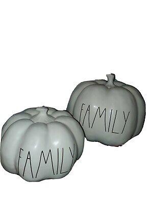 "Rae Dunn by Magenta medium white ""Family"" ceramic pumpkin"