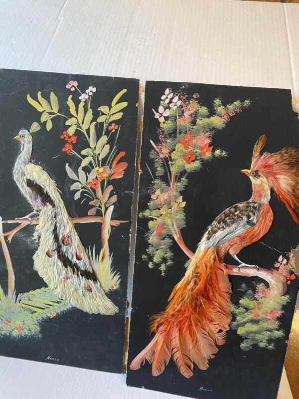 Two vintage bird feather craft Mexican wall art hangings 20x 10