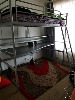 Single loft bed with desk and mattress