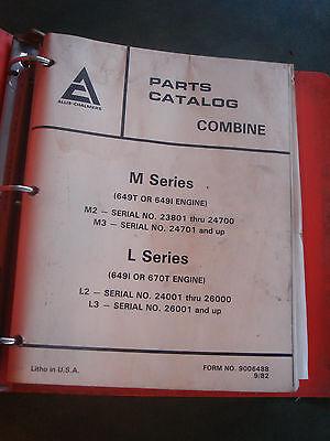 Vintage Allis Chalmers M L Series Combines Parts Service Manual Book