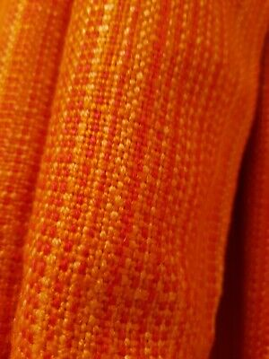 """Vintage 1960s Orange woven heavy curtains pair 1"""" tape 2""""+ hem 2x 47""""W x 64""""D"""