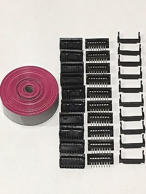 Flat Cable 16 Pins Wires Idc Ribbon 1.27mm Pitch 12ft Cable 10 Sets Connectors