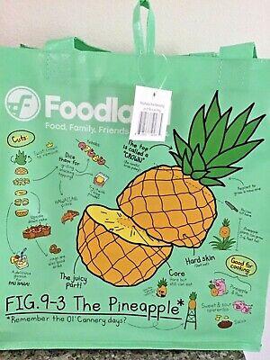 HAWAIIAN  FOODLAND FRUITS LIGHT GREEN REUSABLE SHOPPING BAG / BEACH BAG Green Bag Fruit