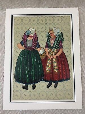 Original Art Deco Print Flanders Costume Dutch Ladies Fashion Holland RARE  - Flanders Costume