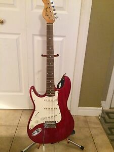 Left Handed Red Typhoon Electric Guitar & Accesories
