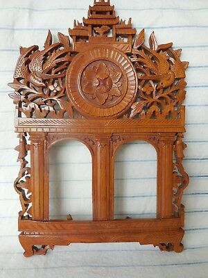 Antique Hand Carved Double Photo Frame Antiqued Asian Picture Frame