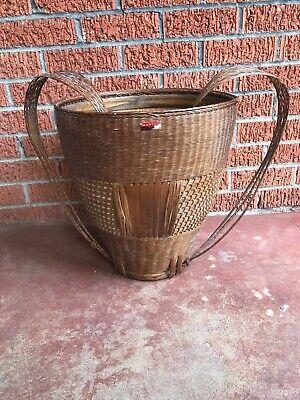 Wicker Backpack Basket Bakul Tambok Asian Tribal Farm Collection Vegetable Vtg