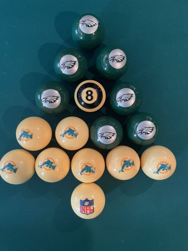New NFL Philadelphia Eagles Miami Dolphins Pool Ball Billiards Balls Set