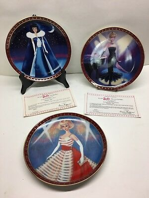 Danbury Mint Barbie High Fashion Collector Plate Set lot of 3 Plates