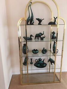 Brass and glass shelving unit excellent condition