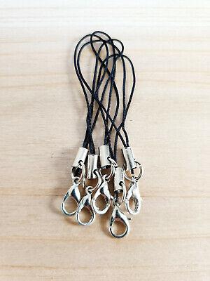 5 x Handy Anhänger mit Karabiner ♥ Schmuckherstellung Charms in Schwarz/Silber