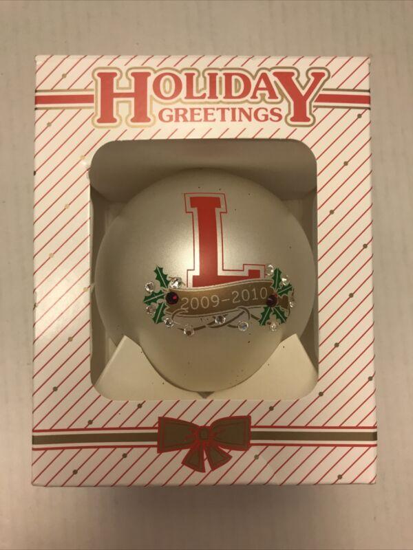 HOLIDAYS GREETINGS L Lord 2009-10 Holly Leaves Rhinestones Christmas Ornament