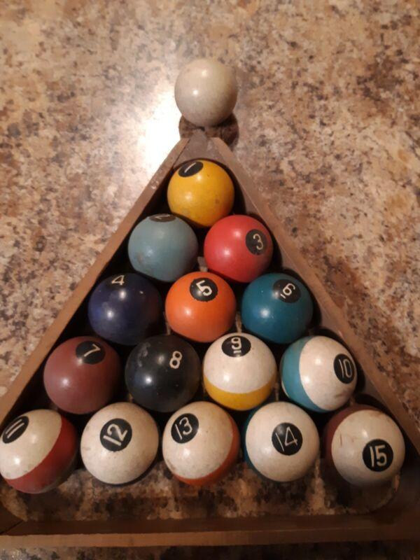 Antique Vintage Billiards Pool Ball Set of 1 7/8 ball set of 16 balls