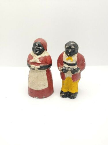 "Vintage Cast Iron Paperweight Set Butler & Maid 3"" tall Set"
