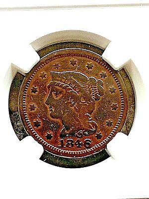 1846 Small Date Braided Hair Large Cent Fine Details 1c Coin
