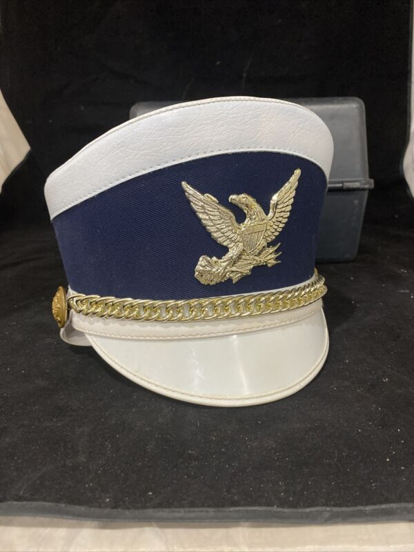 Vintage Demoulin White & Blue Marching Band Hat Flat Cap Size Small