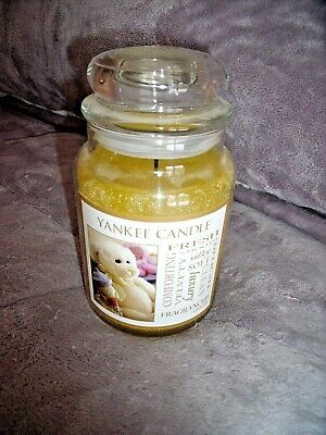 LARGE Yankee Candle VELVETY SOFT Jar CANDLE Baby Powder Scent Teddy Bear Label