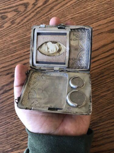 Antique Silver Coin Case 1916 World War 1 Man In Air Service U S Uniform
