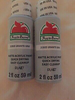 NEW Lot PLAID Apple Barrel Matte Acrylic Craft Paint Granite Gray 4 Fl. Oz.