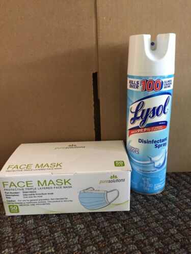 NEW 1 Lysol Cleaning Spray 19oz Plus 50 Blue Face Mask Mouth/Nose Masks combo
