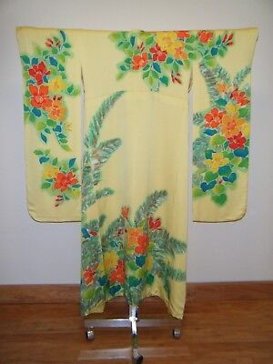 Vintage Japanese Silk Hand-painted Furisode Kimono, Yellow with Floral