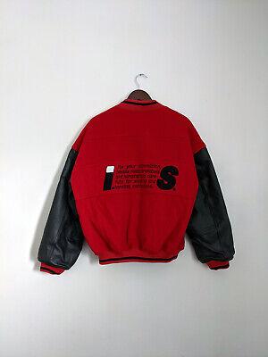 Issey Miyake Sport Care Label Red Tsumori Chisato Wool Varsity Bomber Jacket