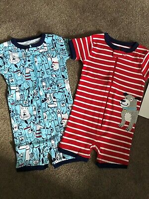 - NEW Carters Baby Boys 2 Pack Romper Cotton Pajamas - 12 Mths - Dog Theme