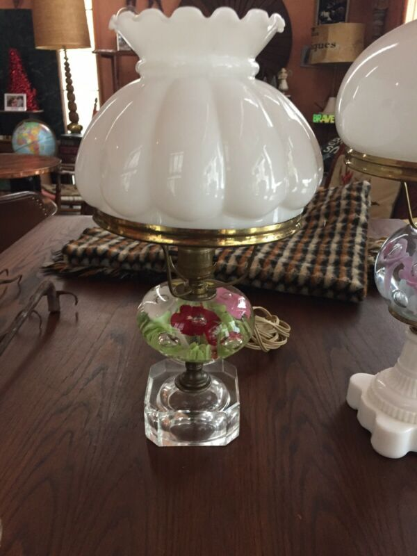 Vintage St. Clair Paperweight Lamp with Flowers