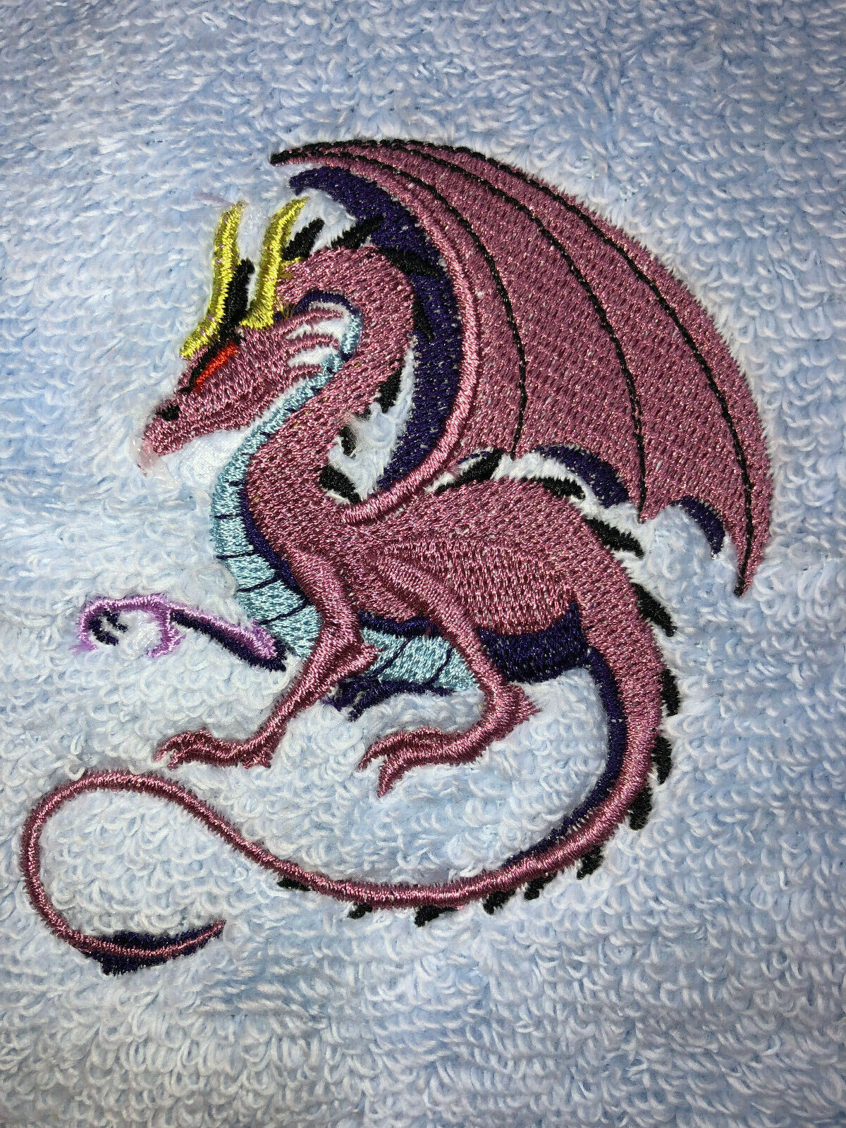 Embroidered Lt Blue Bathroom Hand Towel Crouching Dragon in