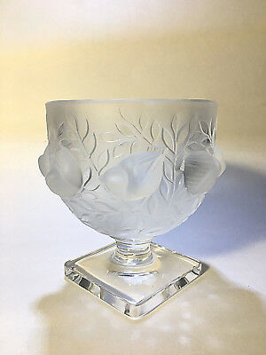 LALIQUE France Crystal Bowl on Square Pedestal Elizabetth Birds in Bush 12265