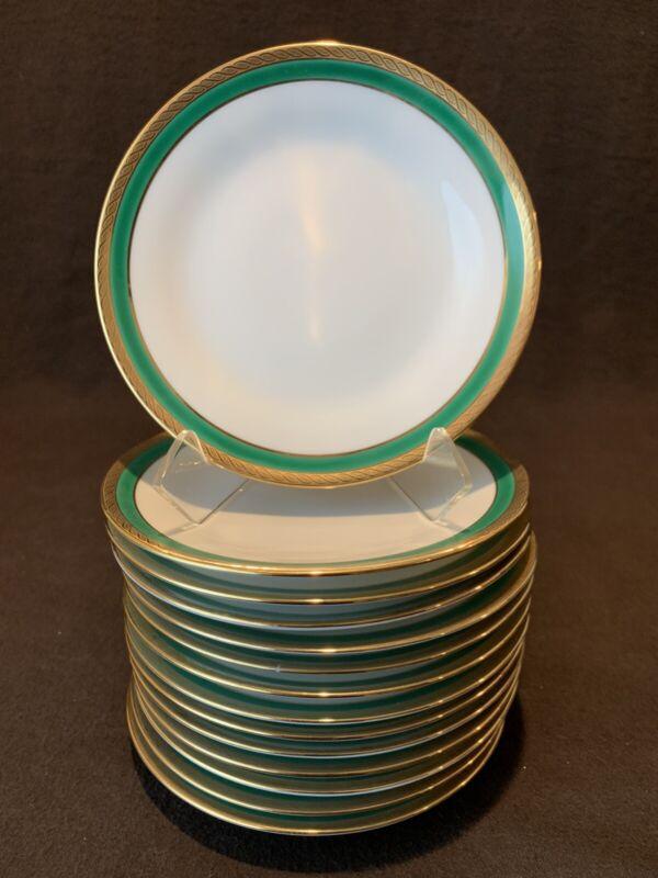 "Richard Ginori Palermo Green Bread Plates 6 1/4"" Dia Set of 14 Gold Rim"