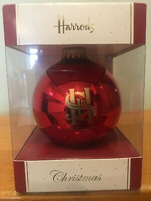 Harrods Christmas Ornament Red Gold Glass Bauble Insignia Emblem Display Box ()