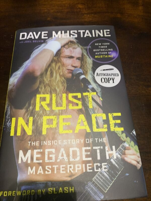 """Dave Mustaine Autograph """"Rust In Peace"""" Book Signed With Coa"""